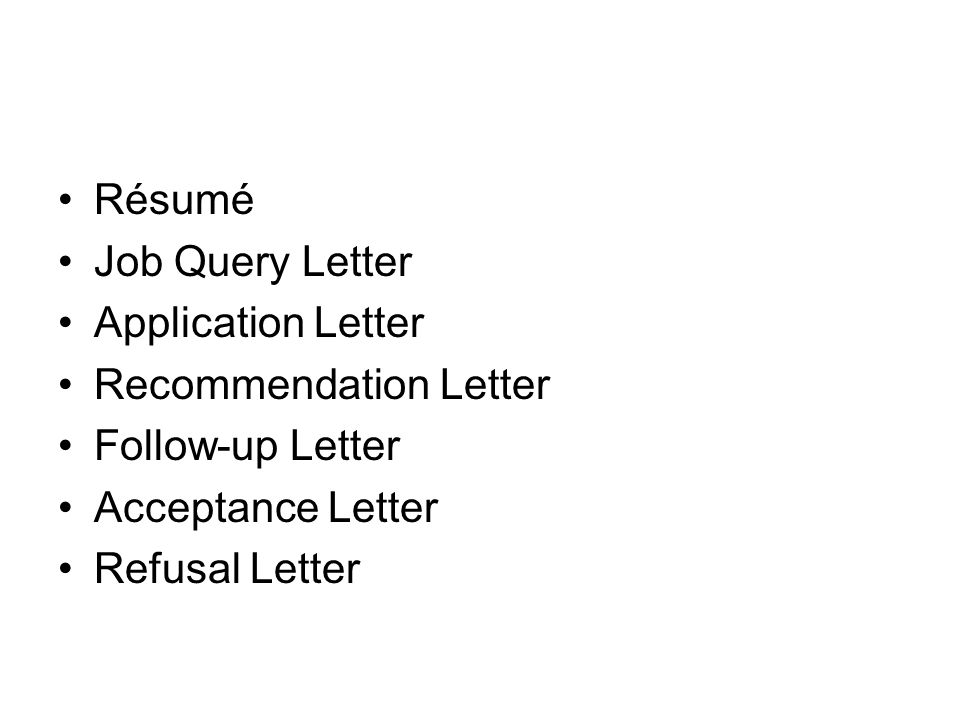 Employment Letters Rsum Job Query Letter Application Letter