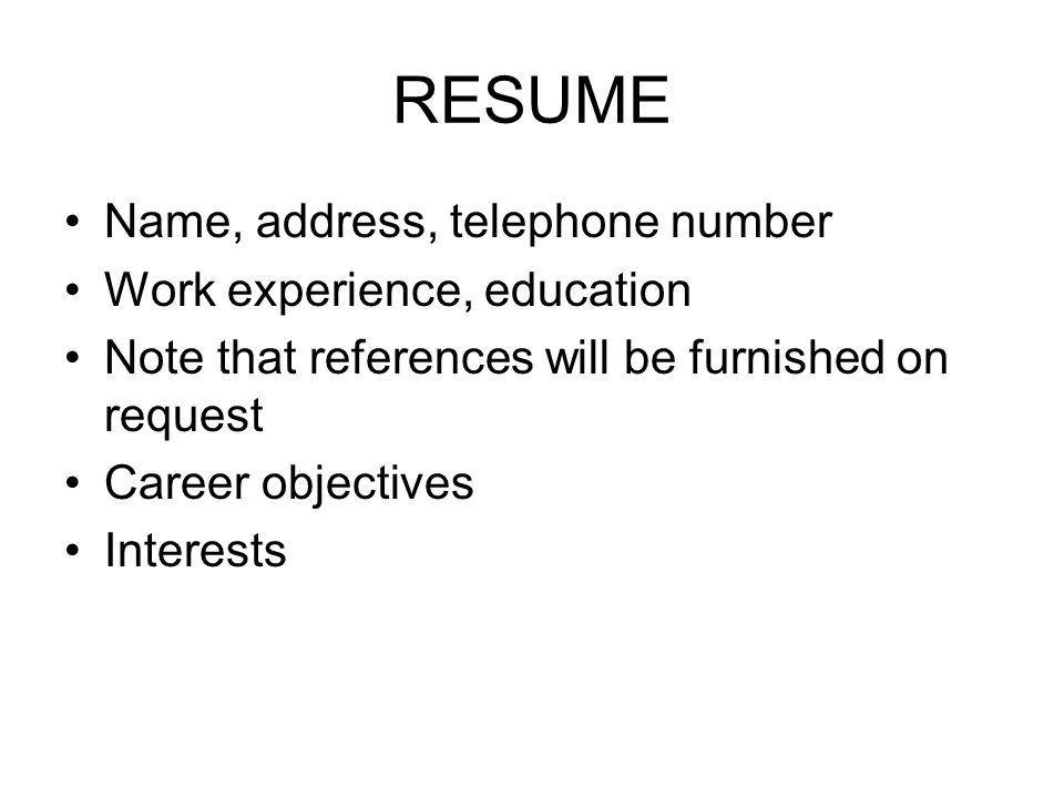 Employment Letters. Résumé Job Query Letter Application Letter