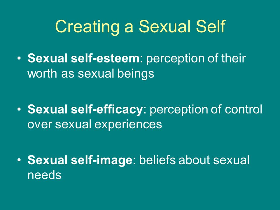 Creating a Sexual Self Sexual self-esteem: perception of their worth as sexual beings Sexual self-efficacy: perception of control over sexual experiences Sexual self-image: beliefs about sexual needs