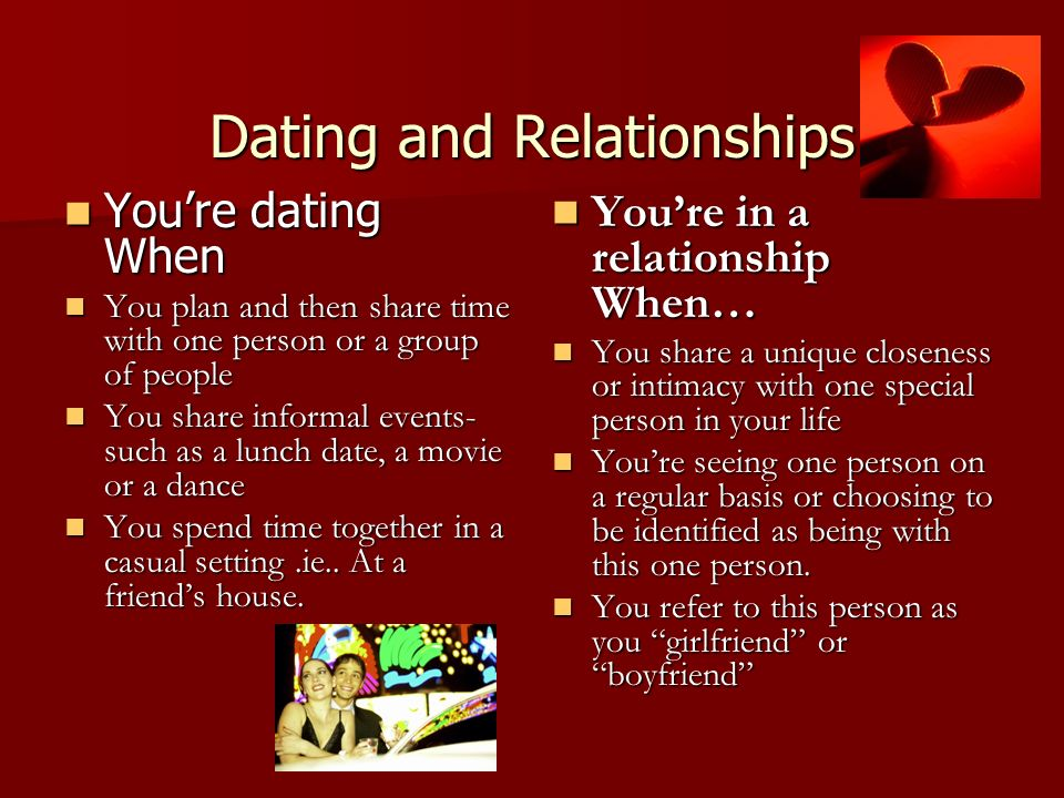 Dating and in relationship