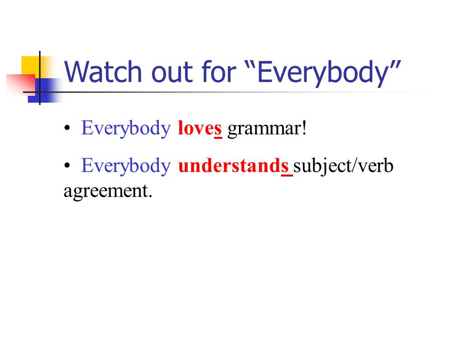 Subject verb agreement every verb must agree with its subject 11 watch out for everybody everybody loves grammar everybody understands subjectverb agreement platinumwayz
