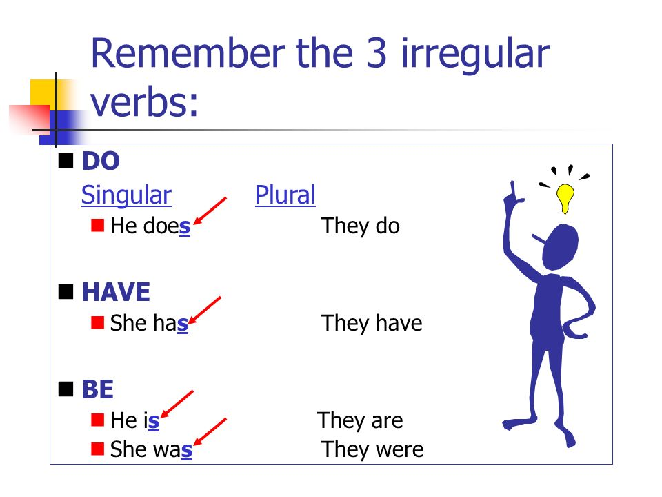 Subject verb agreement every verb must agree with its subject 5 remember the 3 irregular verbs do singularplural he doesthey do have she has they have be he is they are she wasthey were platinumwayz