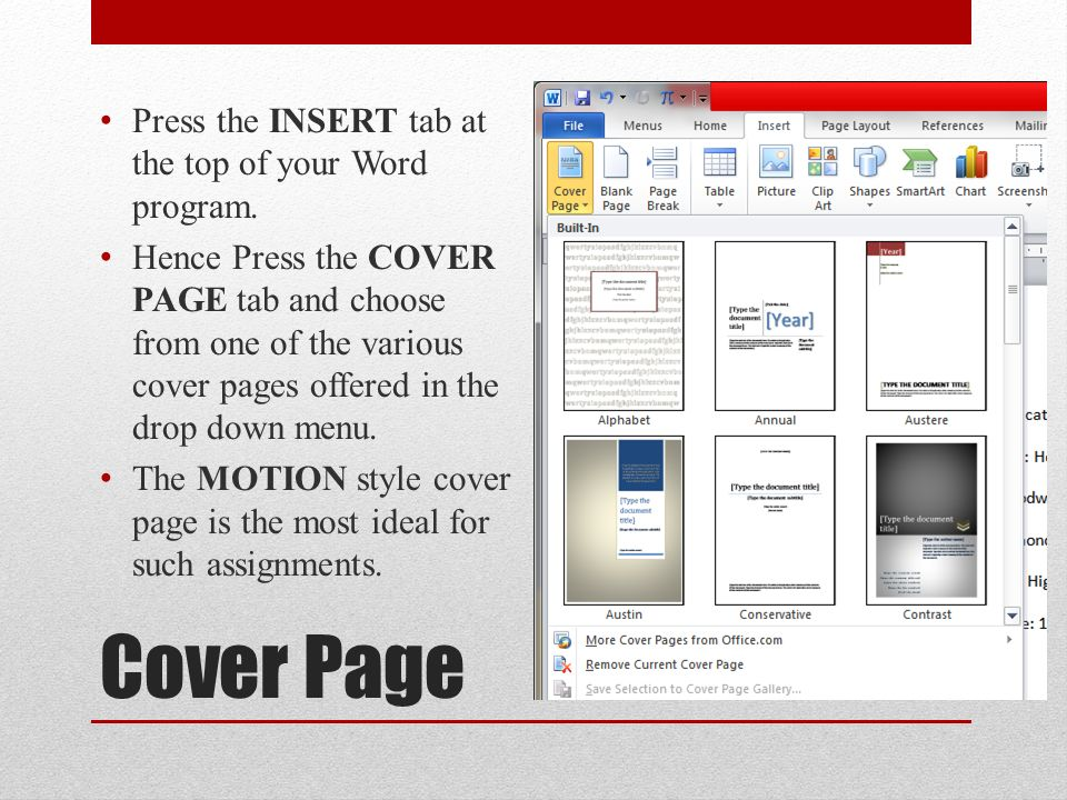 ms office cover page