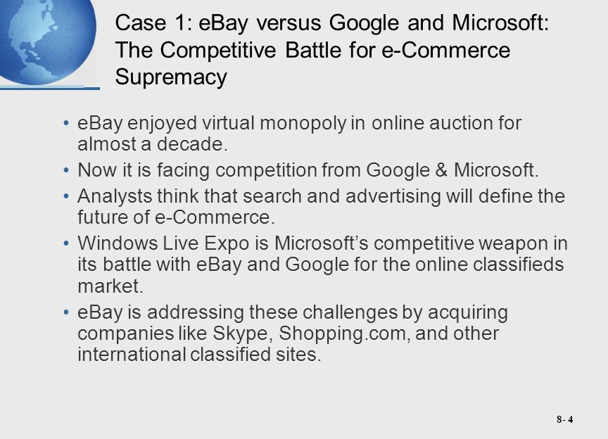 8- 4 Case 1: eBay versus Google and Microsoft: The Competitive Battle for e-Commerce Supremacy eBay enjoyed virtual monopoly in online auction for almost a decade.
