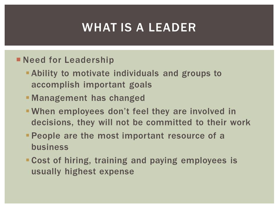  Need for Leadership  Ability to motivate individuals and groups to accomplish important goals  Management has changed  When employees don't feel they are involved in decisions, they will not be committed to their work  People are the most important resource of a business  Cost of hiring, training and paying employees is usually highest expense WHAT IS A LEADER
