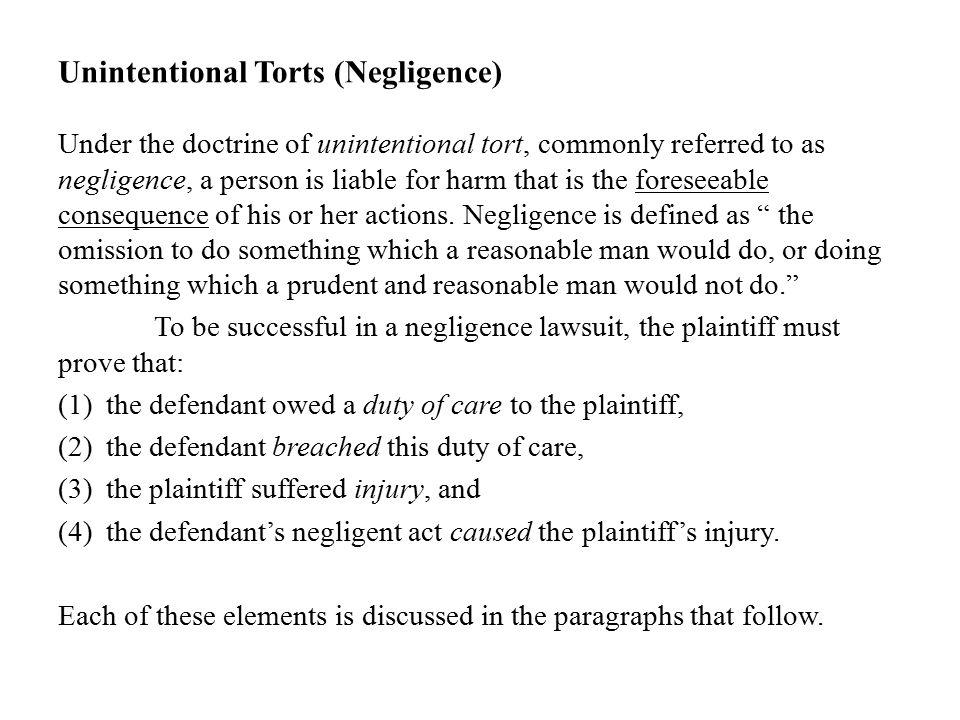 negligence of tort