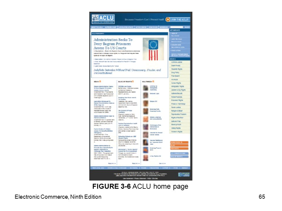 Electronic Commerce, Ninth Edition65 FIGURE 3-6 ACLU home page