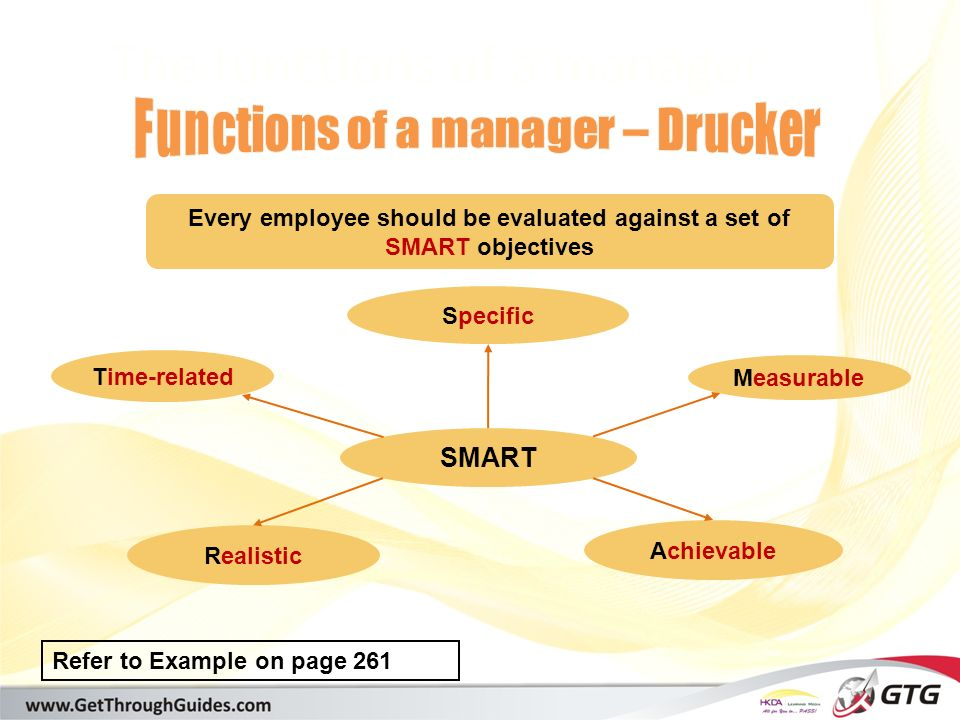 [training@getthroughguides.com] The functions of a manager SMART Every employee should be evaluated against a set of SMART objectives Time-related Realistic Specific Achievable Measurable Refer to Example on page 261