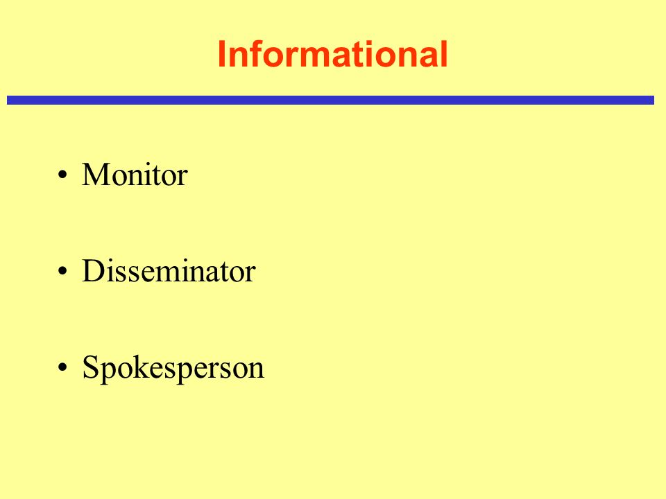 Informational Monitor Disseminator Spokesperson