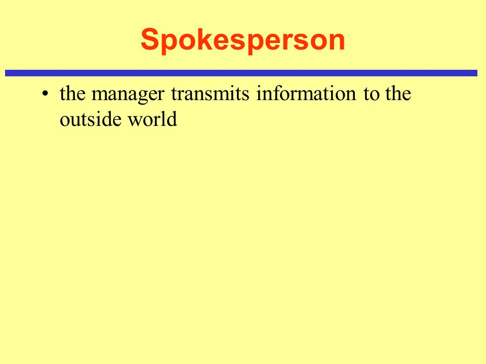 Spokesperson the manager transmits information to the outside world