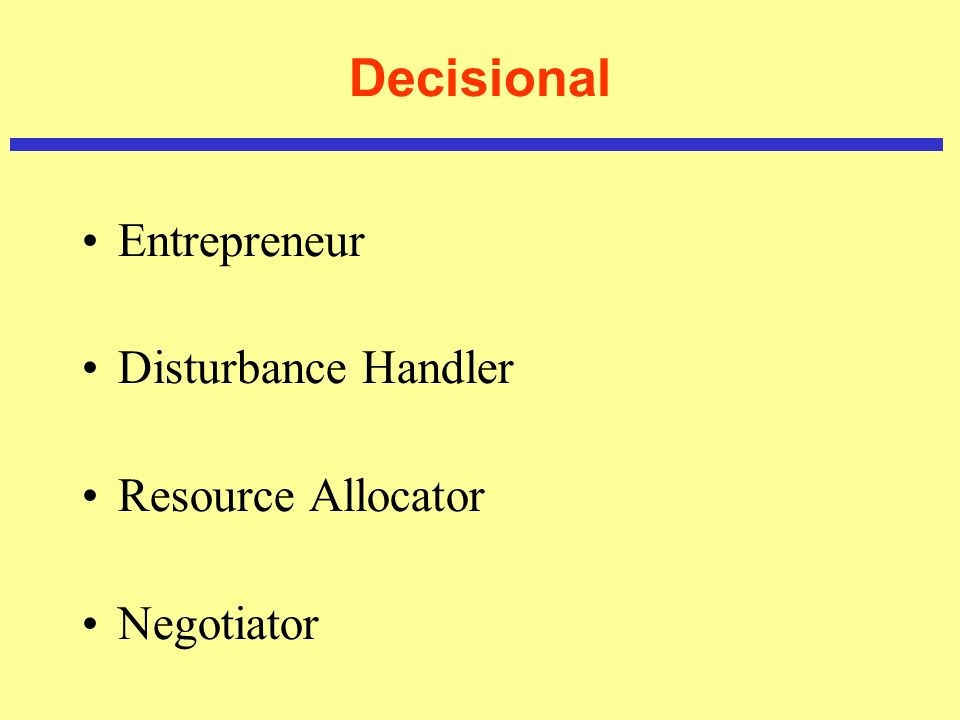 Decisional Entrepreneur Disturbance Handler Resource Allocator Negotiator