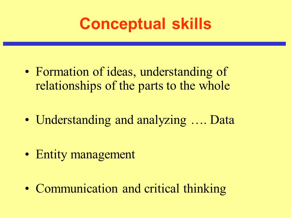Conceptual skills Formation of ideas, understanding of relationships of the parts to the whole Understanding and analyzing …. Data Entity management C