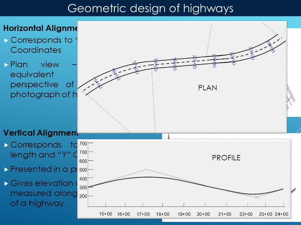 Horizontal Alignment  Corresponds to X and Z Coordinates  Plan view – Roughly equivalent to the perspective of an aerial photograph of highway Vertical Alignment  Corresponds to highway length and Y Coordinate  Presented in a profile view  Gives elevation of all points measured along the length of a highway Horizontal Alignment Vertical Alignment Geometric design of highways PLAN PROFILE