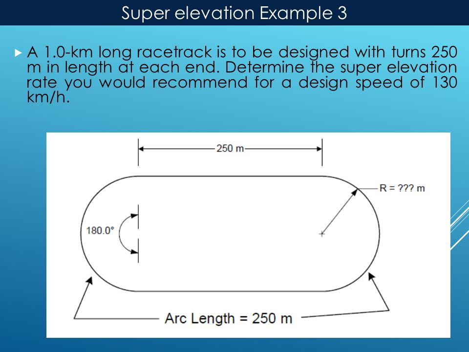 Super elevation Example 3  A 1.0-km long racetrack is to be designed with turns 250 m in length at each end.