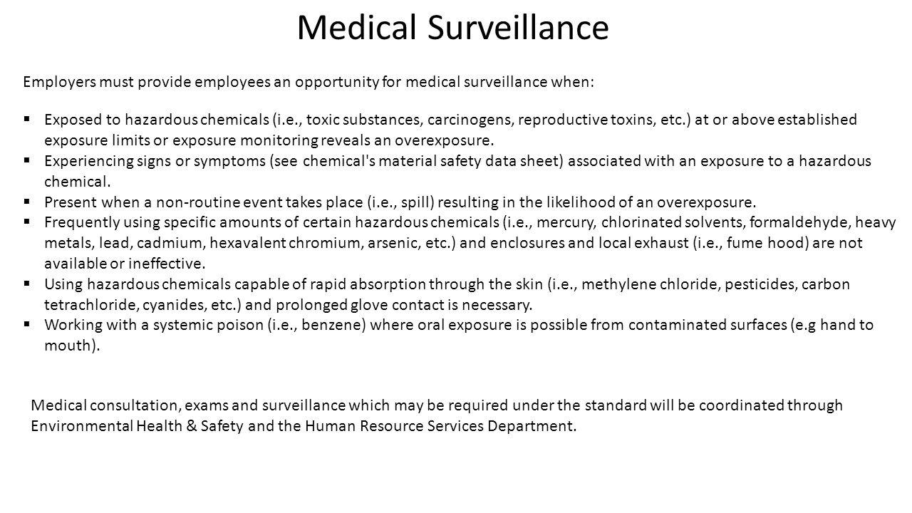 Wsu environmental health safety environmental health - 6 Medical Surveillance