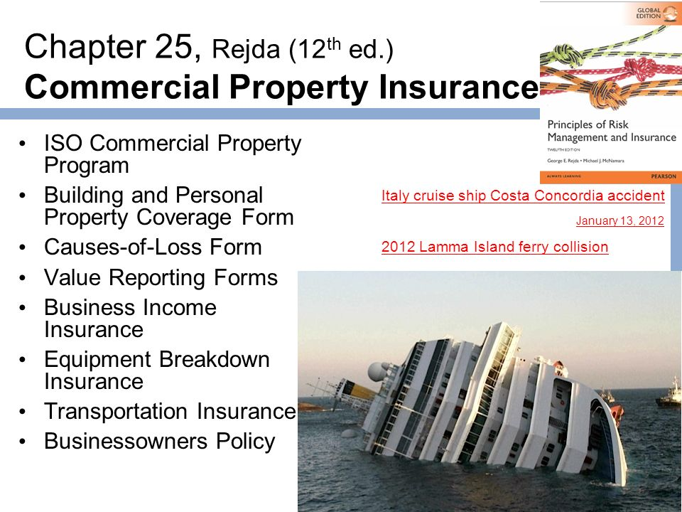 1 Chapter 25, Rejda (12 Th Ed.) Commercial Property Insurance Iso