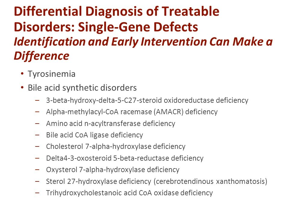 Differential Diagnosis of Treatable Disorders: Single-Gene Defects Identification and Early Intervention Can Make a Difference Tyrosinemia Bile acid synthetic disorders –3-beta-hydroxy-delta-5-C27-steroid oxidoreductase deficiency –Alpha-methylacyl-CoA racemase (AMACR) deficiency –Amino acid n-acyltransferase deficiency –Bile acid CoA ligase deficiency –Cholesterol 7-alpha-hydroxylase deficiency –Delta4-3-oxosteroid 5-beta-reductase deficiency –Oxysterol 7-alpha-hydroxylase deficiency –Sterol 27-hydroxylase deficiency (cerebrotendinous xanthomatosis) –Trihydroxycholestanoic acid CoA oxidase deficiency