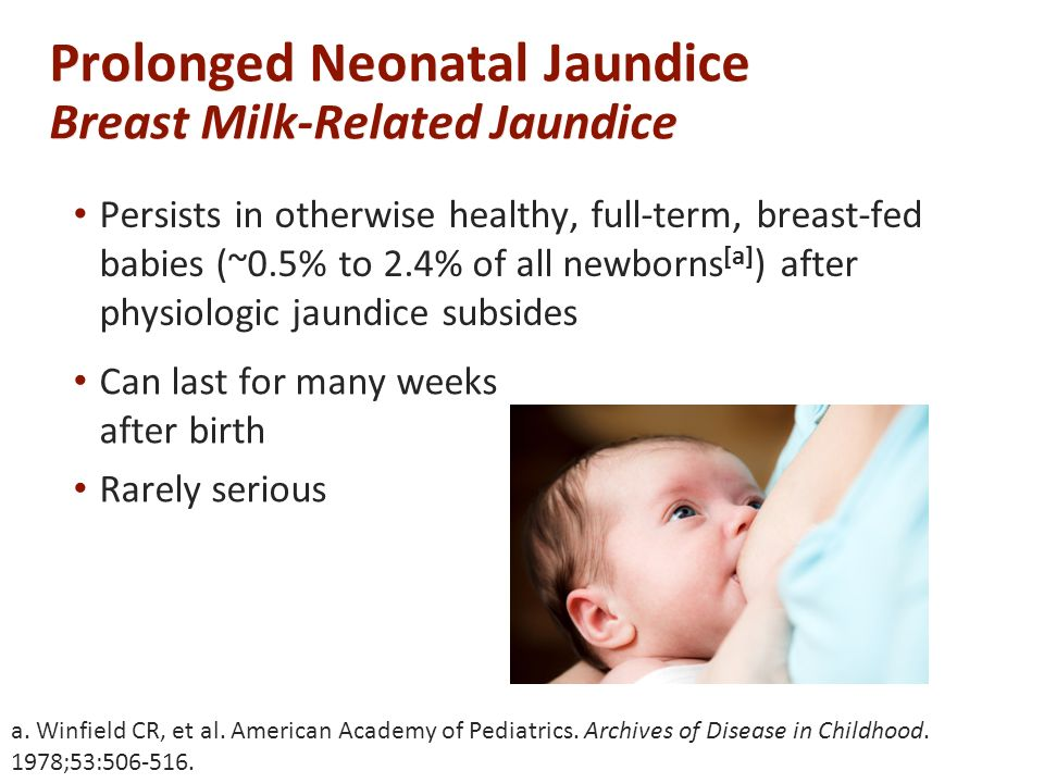 Prolonged Neonatal Jaundice Breast Milk-Related Jaundice Persists in otherwise healthy, full-term, breast-fed babies (~0.5% to 2.4% of all newborns [a] ) after physiologic jaundice subsides a.