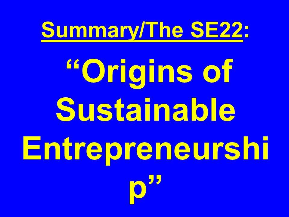 Summary/The SE22: Origins of Sustainable Entrepreneurshi p