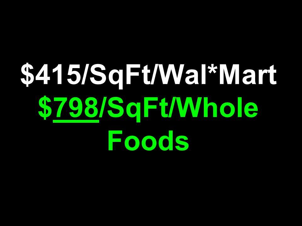 $415/SqFt/Wal*Mart $798/SqFt/Whole Foods