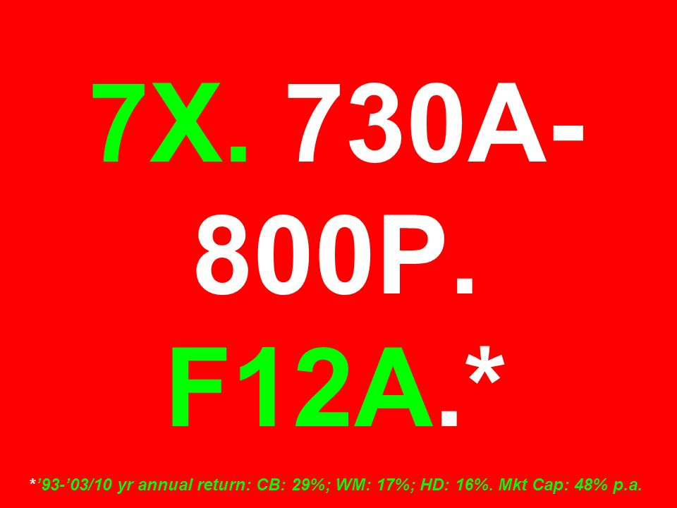7X. 730A- 800P. F12A.* *'93-'03/10 yr annual return: CB: 29%; WM: 17%; HD: 16%. Mkt Cap: 48% p.a.