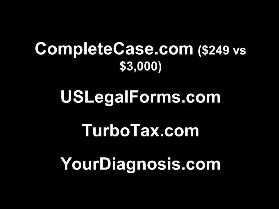 CompleteCase.com ($249 vs $3,000) USLegalForms.com TurboTax.com YourDiagnosis.com