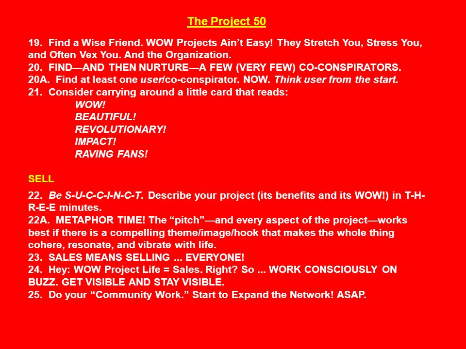 The Project 50 19. Find a Wise Friend. WOW Projects Ain't Easy.