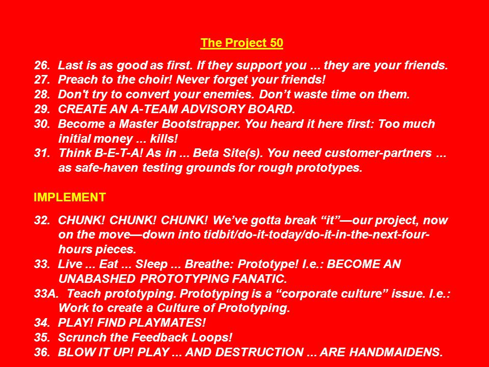 The Project 50 26. Last is as good as first. If they support you...