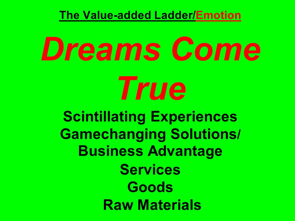 The Value-added Ladder/Emotion Dreams Come True Scintillating Experiences Gamechanging Solutions / Business Advantage Services Goods Raw Materials