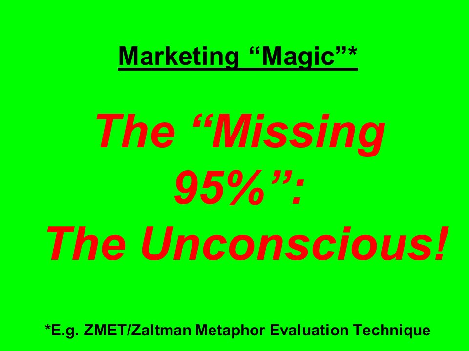 Marketing Magic * The Missing 95% : The Unconscious.