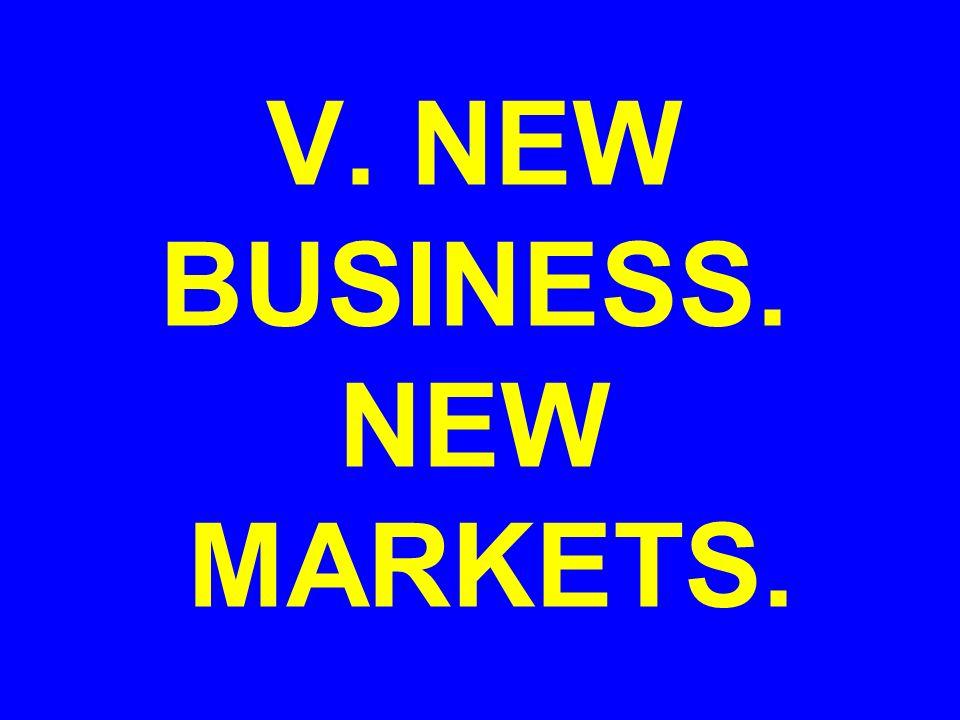 V. NEW BUSINESS. NEW MARKETS.
