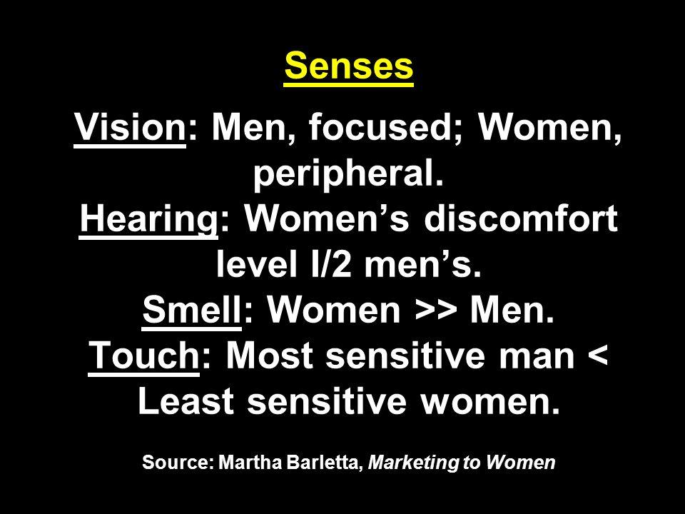 Senses Vision: Men, focused; Women, peripheral. Hearing: Women's discomfort level I/2 men's.