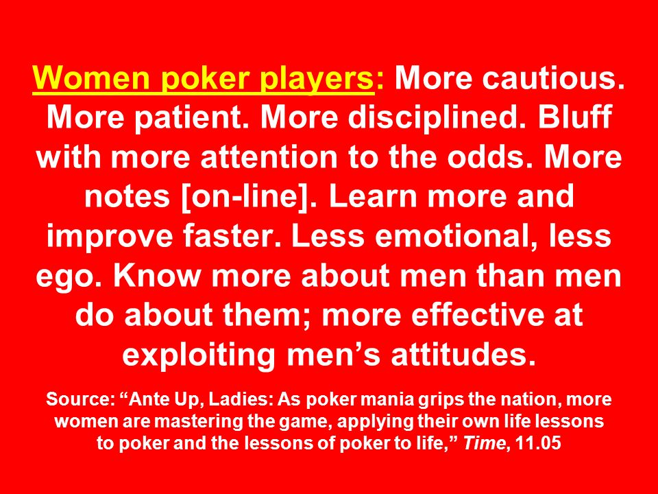 Women poker players: More cautious. More patient.