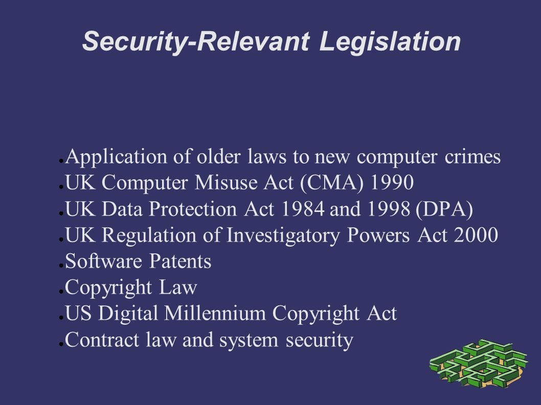data protection act and computer misuse Implications and applicability of the data protection act(1998) and computer misuse act(1990) to it professionals.