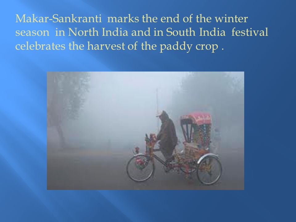 Makar-Sankranti marks the end of the winter season in North India and in South India festival celebrates the harvest of the paddy crop.
