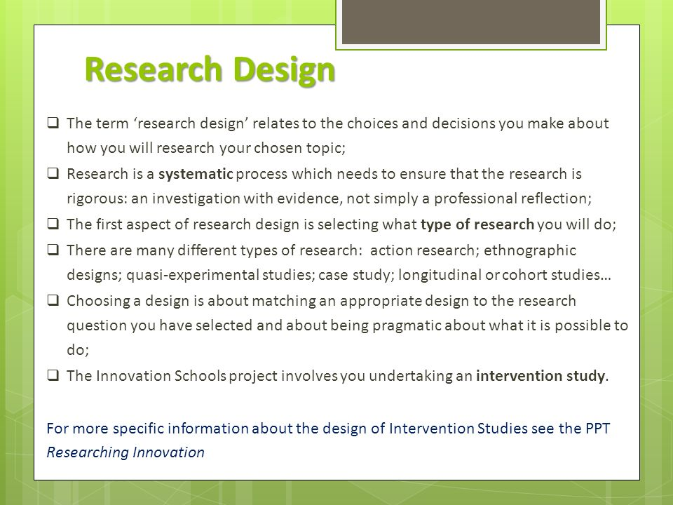 RESEARCH DESIGN. Research Design  The term 'research design ...