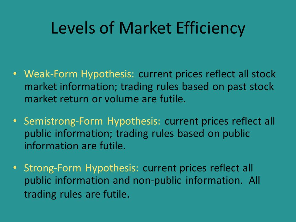 stock market and information efficiency The january effect: a test of market investors in the stock market typically accept the existence of the as well as conduct a test of market efficiency.