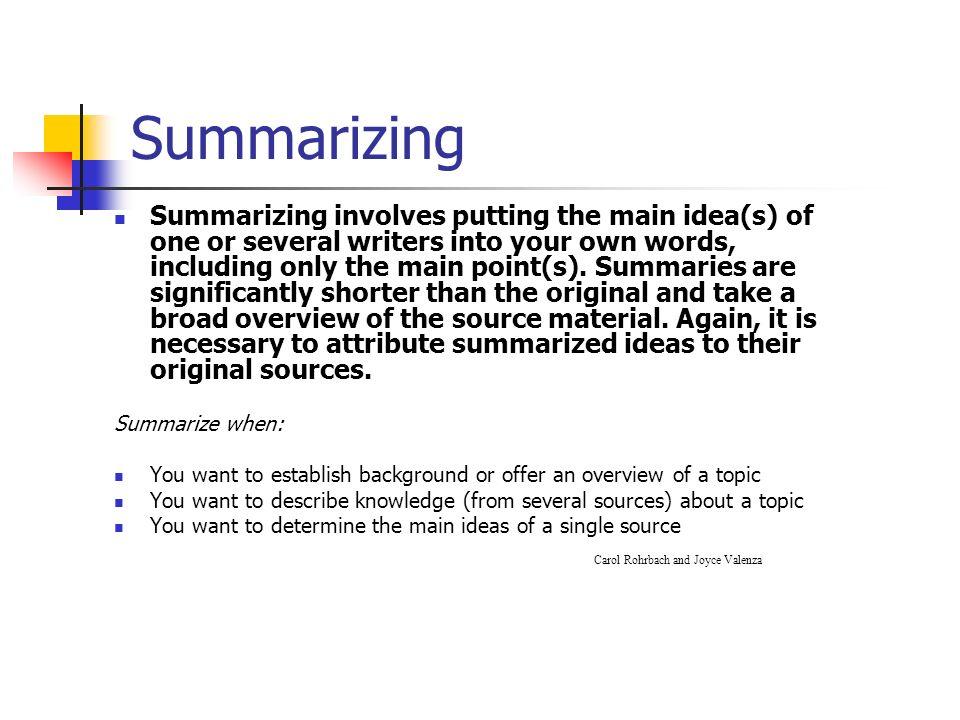 summary idea