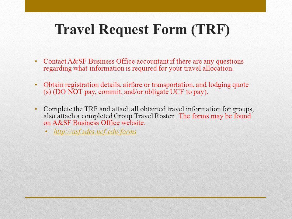 Financial Training Module # 3 Travel Procedures Activity & Service ...