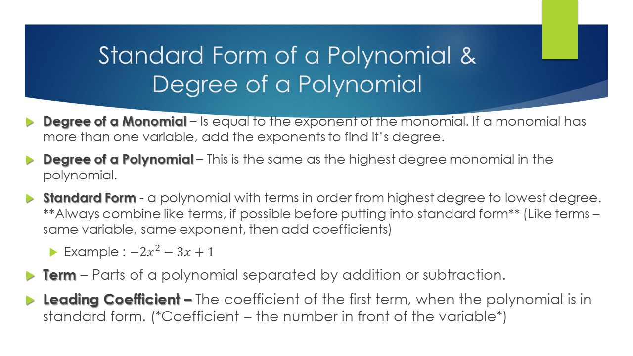 worksheet Degree Of A Monomial lesson 4 1 understanding polynomial expressions please tear out 3 standard