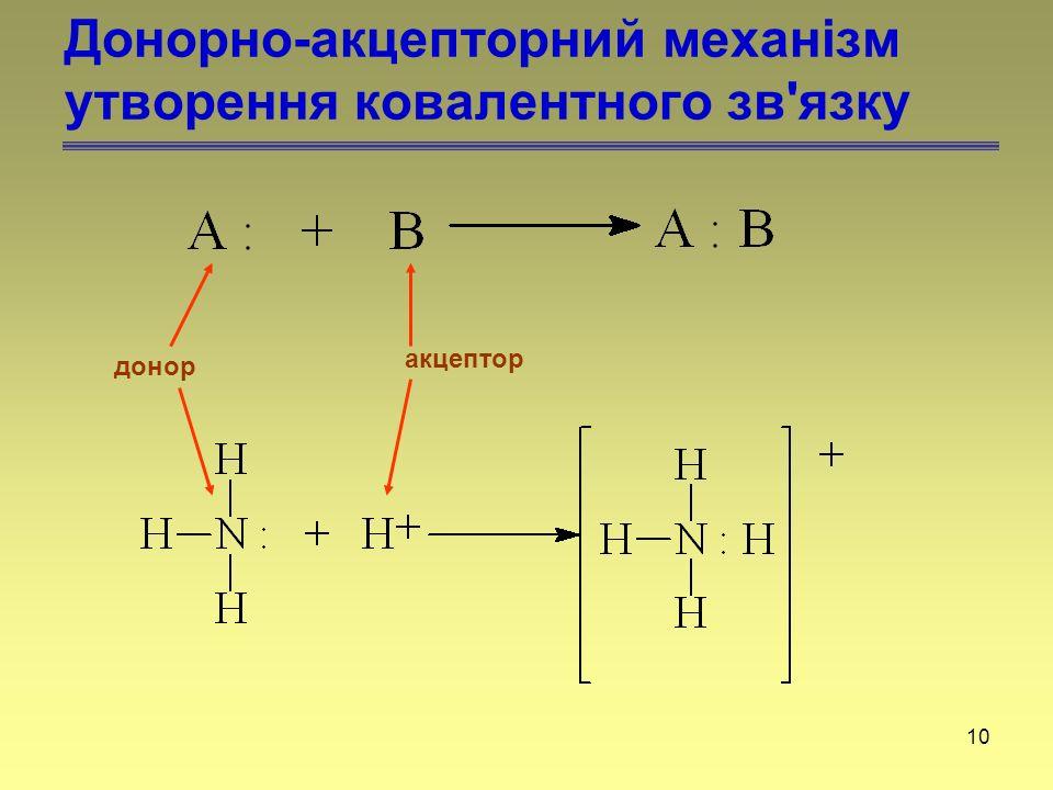 10 Донорно-акцепторний механізм утворення ковалентного зв'язку донор акцептор