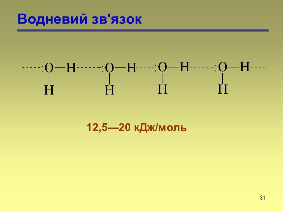 31 Водневий зв'язок 12,5—20 кДж/моль