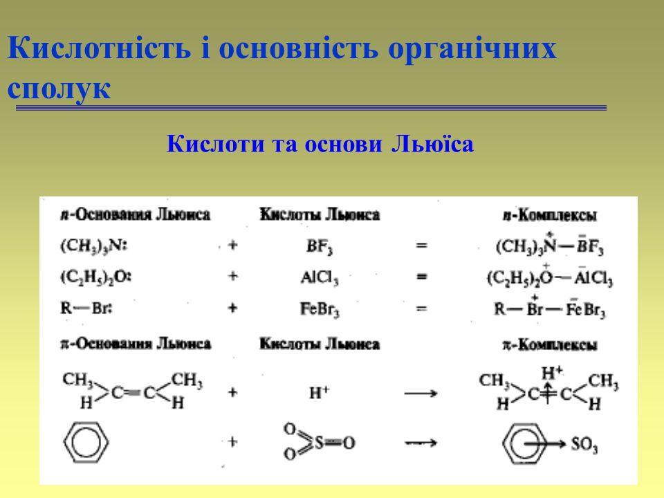 47 Кислотність і основність органічних сполук Кислоти та основи Льюїса