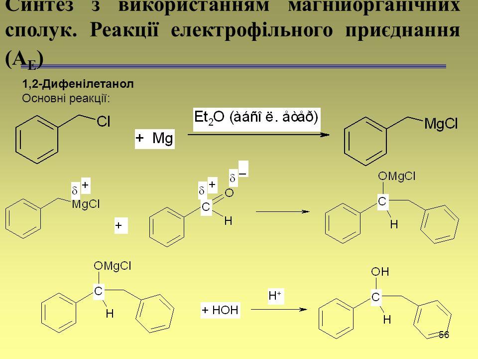 56 1,2-Дифенілетанол Основні реакції: Синтез з використанням магнійорганічних сполук. Реакції електрофільного приєднання (А Е )