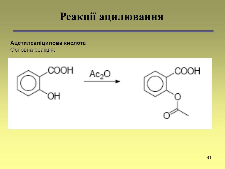61 Ацетилсаліцилова кислота Основна реакція: Реакції ацилювання