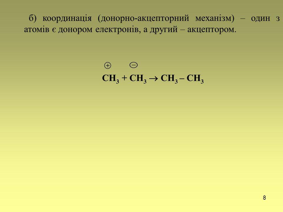 8 б) координація (донорно-акцепторний механізм) – один з атомів є донором електронів, а другий – акцептором. СН 3 + СН 3  СН 3 – СН 3