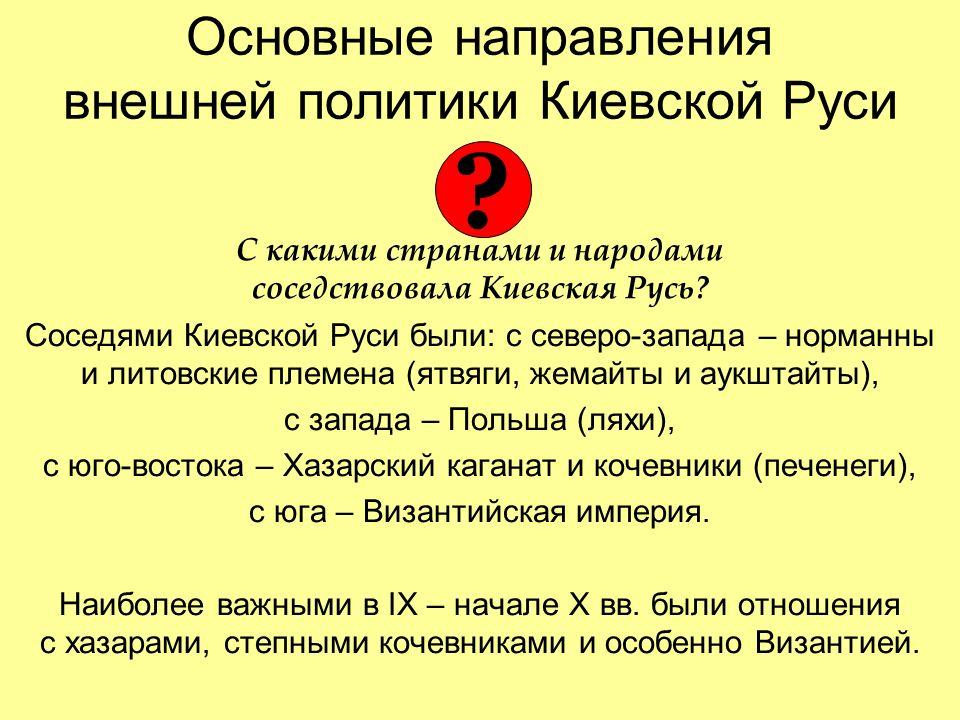 Основные направления внешней политики Киевской Руси С какими странами и народами соседствовала Киевская Русь.