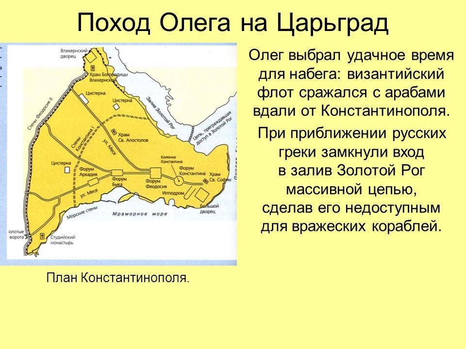 Поход Олега на Царьград Олег выбрал удачное время для набега: византийский флот сражался с арабами вдали от Константинополя.