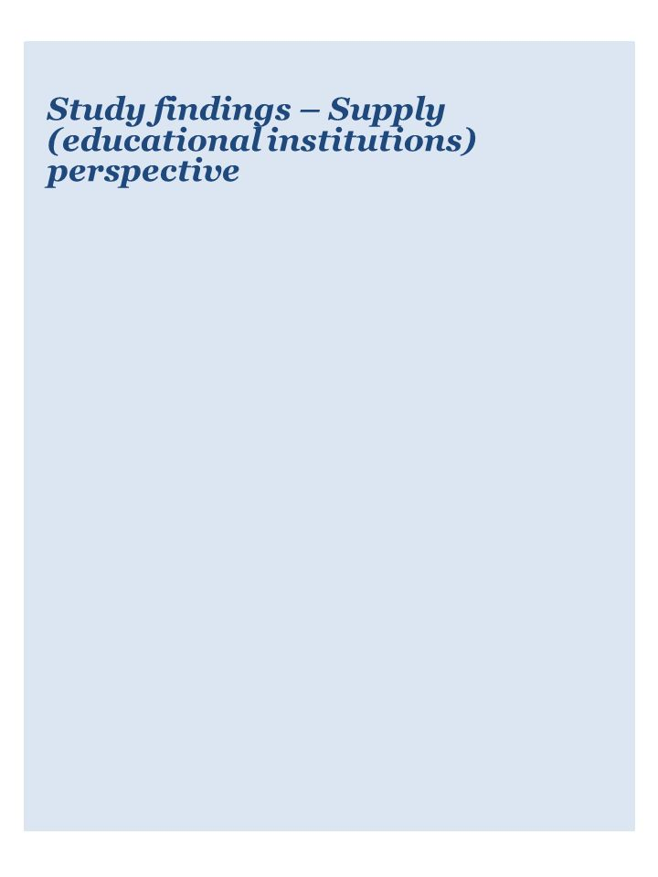 Study findings – Supply (educational institutions) perspective