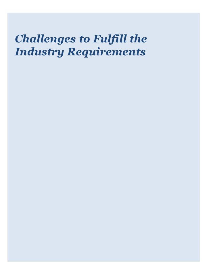 Challenges to Fulfill the Industry Requirements